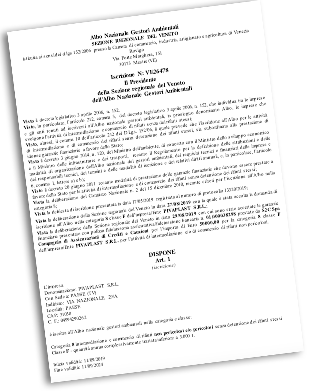 Pivaplast Srl Autorizzazioni al trattamento Materie Plastiche